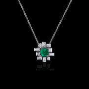Stella diamond and green emerald necklace in 18ct white gold by Stefano Canturi