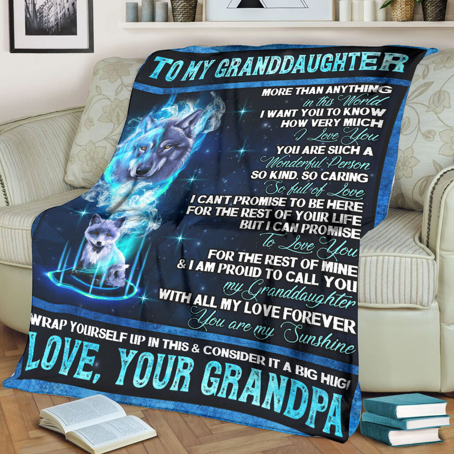 Grandpa to My Beautiful Granddaughter - You are my sunshine - Fleece Blanket Soft Comfortable Blanket for Sofa Chair Bed Office Travelling Camping