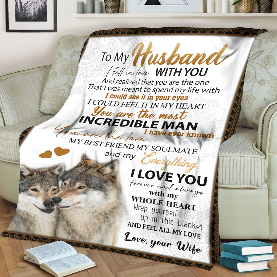 To My Husband I fell in love with you Wolf Gift from Wife Fleece Blanket