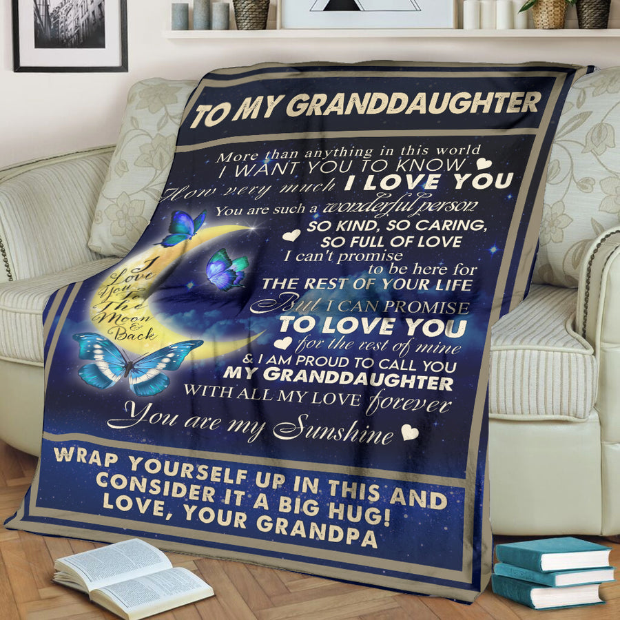 TO MY GRANDDAUGHTER I LOVE YOU TO THE MOON FROM GRANDMA BUTTERFLY BLANKET
