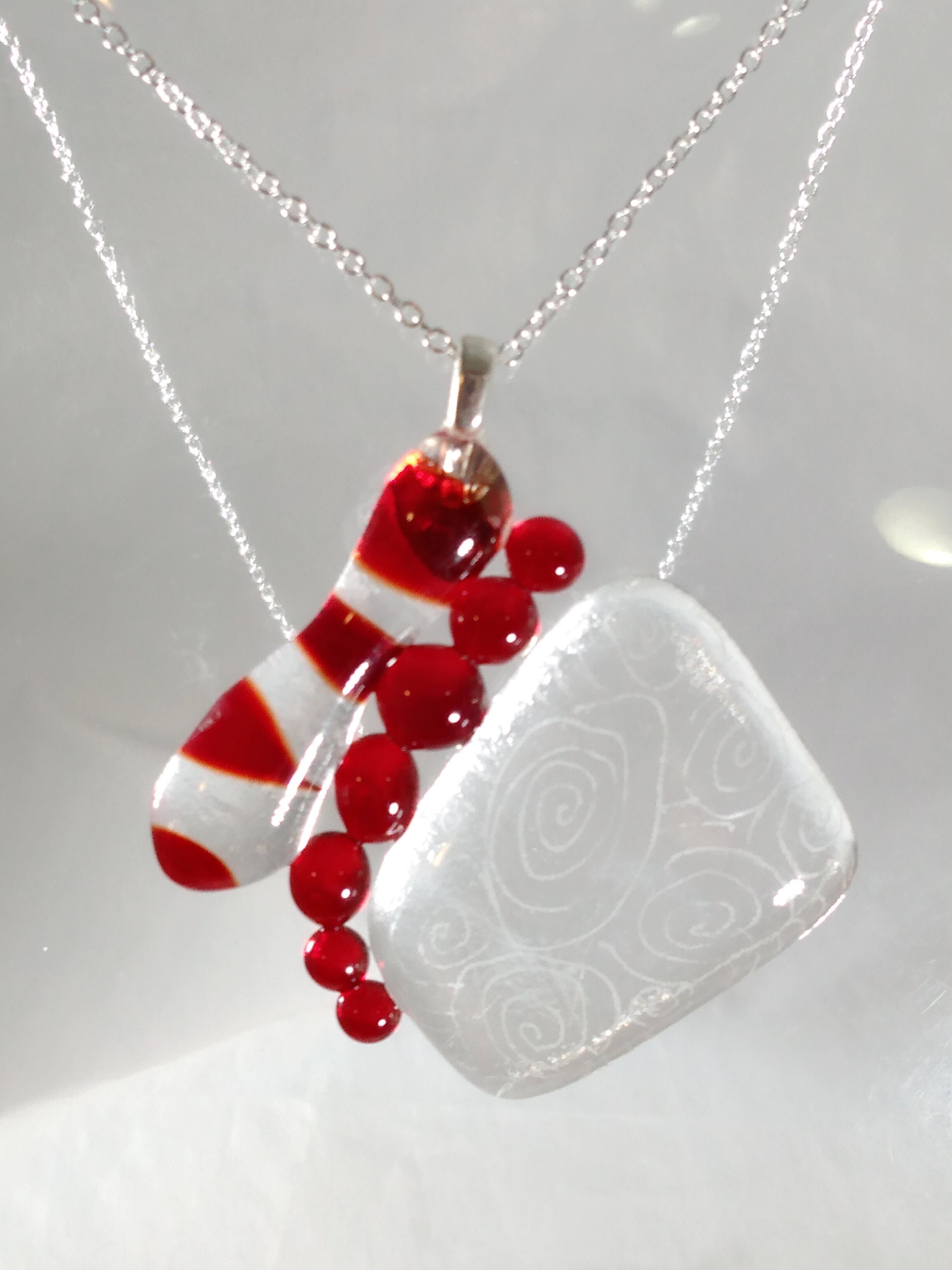 early large pendant - red burton etch SOLD