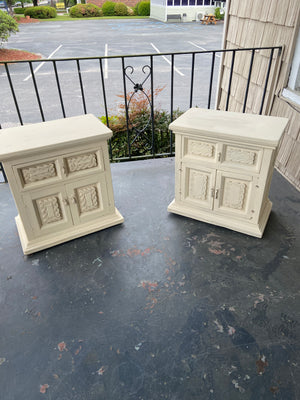 Old Ochre end tables or night stands