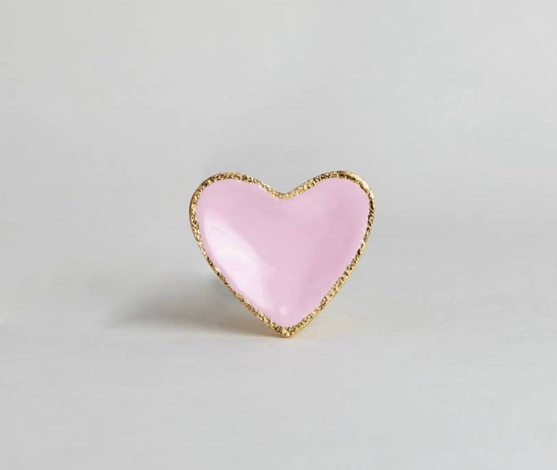 Pink and Gold Heart Knob