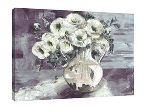 White Flowers In Farmhouse Pottery Vessel Wrapped Canvas