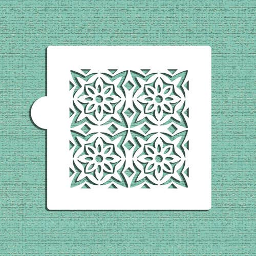 Flower Tile Cookie and Craft Stencil