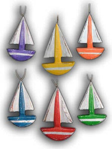 Color Sailboat wood hand carved  ornament nautical