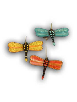 Dragonfly hand painted and hand carved  wood ornament asst
