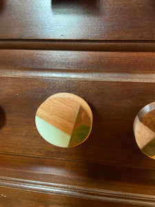 Mint, Gold and Wood, round