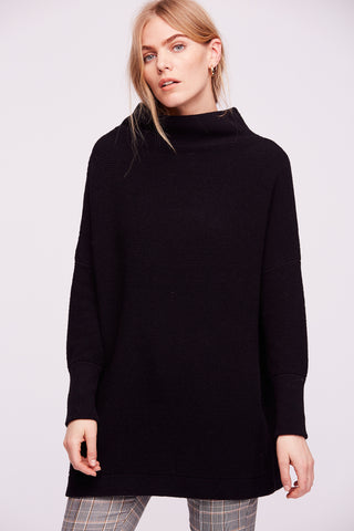 black ottoman slouchy by free people. oversized heavy ribbed sweater.