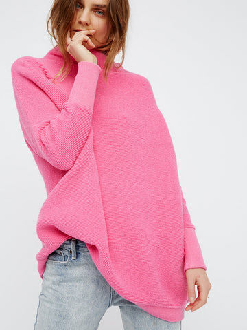 hot pink ottoman slouchy by free people. oversized heavy ribbed sweater.