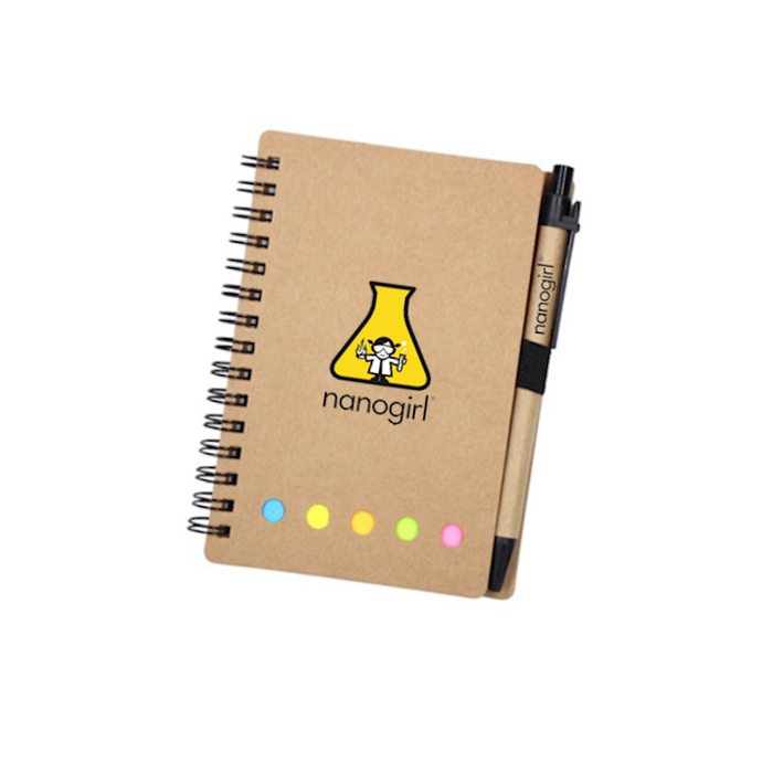 Nanogirl Lab Notebook with Sticker Labels & Pen