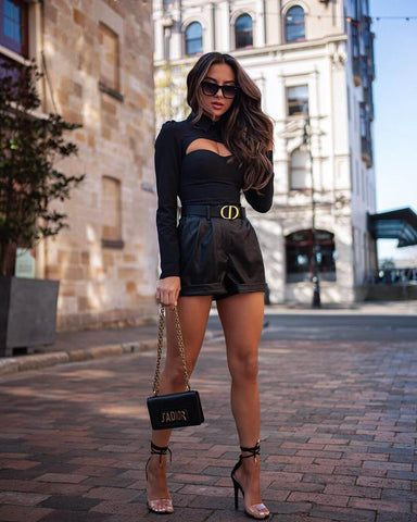 Long Sleeve Cutout Top + Leather Shorts + Heels