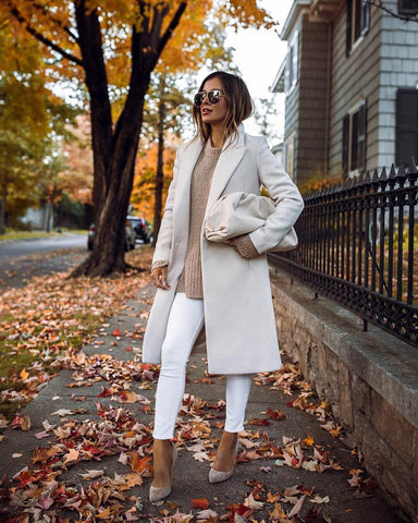 Overcoat + Oversized Sweater + White Skinny Jeans + Heels