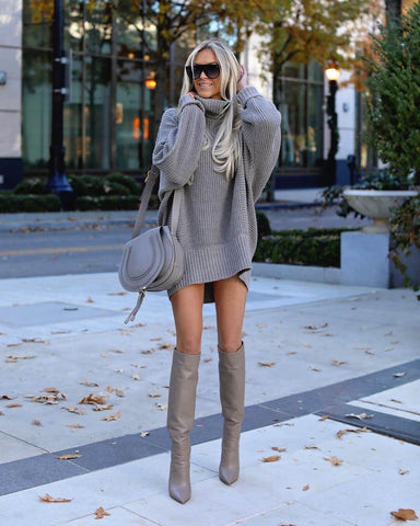 Sweater Dress + Knee High Boots