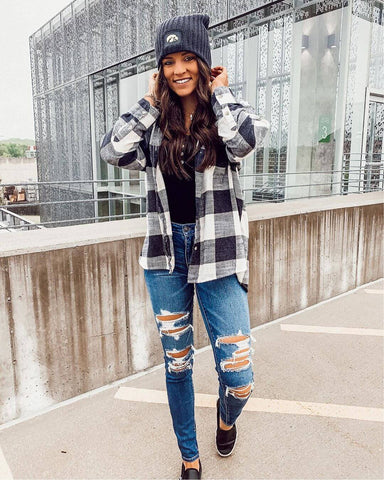 Flannel Shirt + Button-up knit top + Ripped Jeans + Loafers