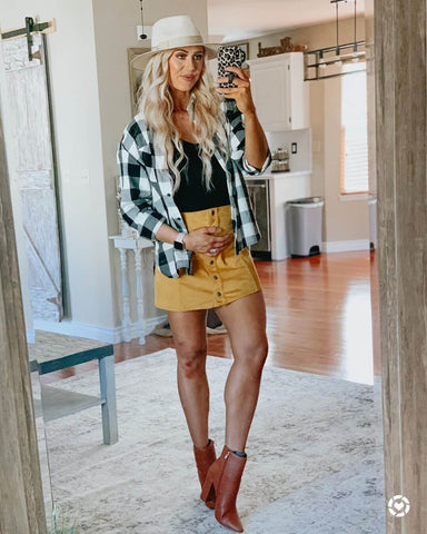 Flannel Shirt + Cami + Corduroy Mini Skirt + Ankle Boots