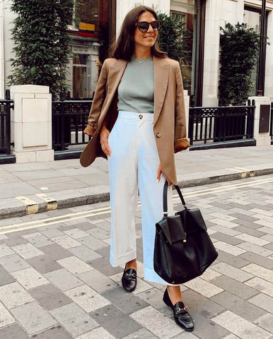 Blazer + Rib Knit Top + Wide Leg Pants + Slip-ons