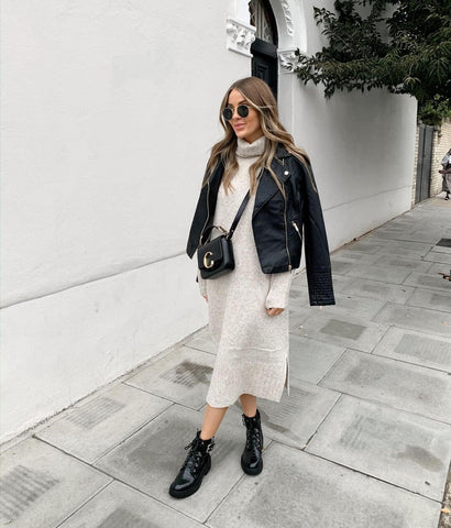 Biker Jacket + Knit Dress + Biker Boots