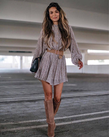 Tunic Dress + Belt + Knee High Boots