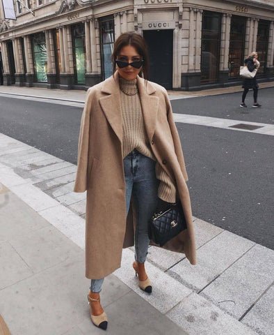 Camel Coat + Knit Sweater + Boyfriend Jeans + Heels
