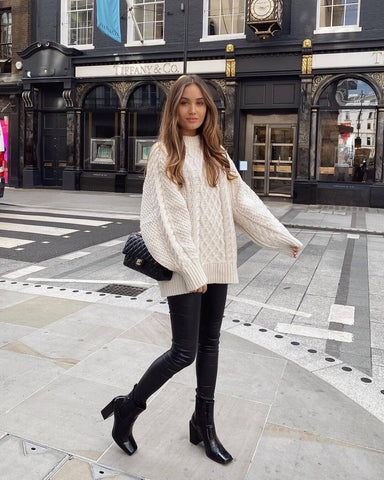 Oversized Cable Knit Sweater + Leather Pants + Booties