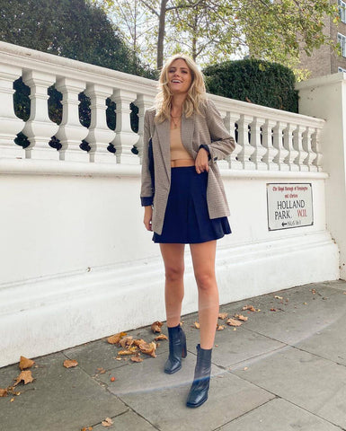 Blazer + Knit Crop Top + Tennis Skirt + Booties