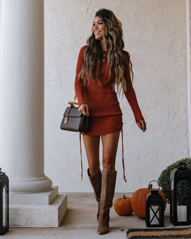 Knit Mini Dress + Knee High Boots