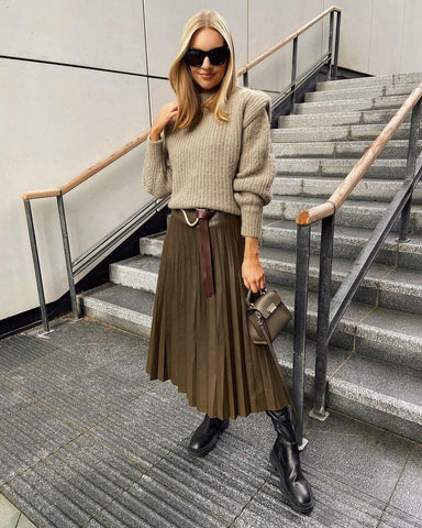 Cable Knit Sweater + Pleated Midi Skirt + Chunky Boots