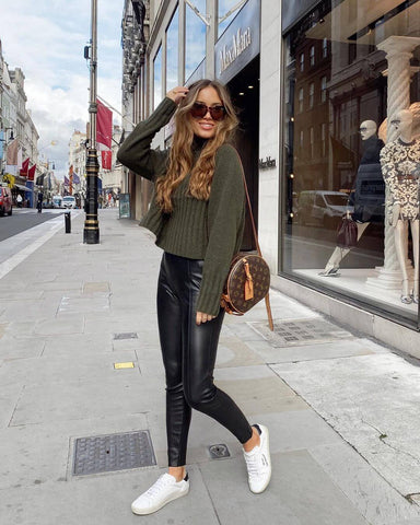 Sweater + Leather Pants + Sneakers