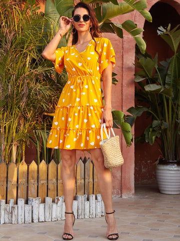 yellow ruffle mini dress