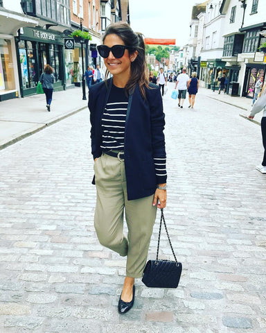 Navy Blazer + Breton Stripe Top + Cuffed Trousers + Flats