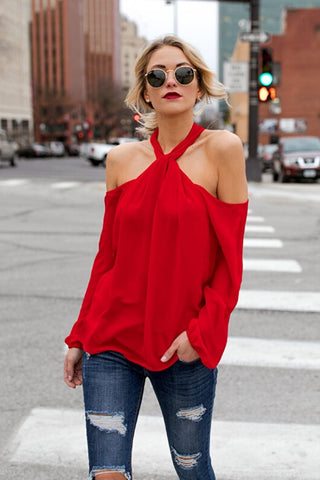 red cold shoulder top