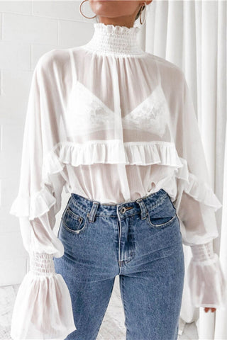 sheer ruffle top