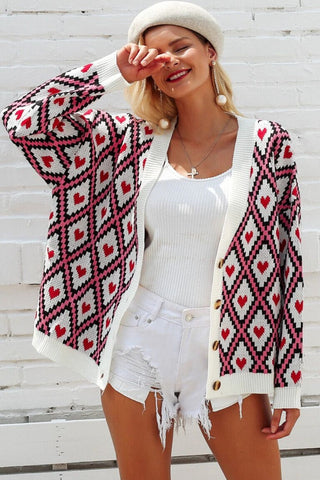 heart pattern cardigan