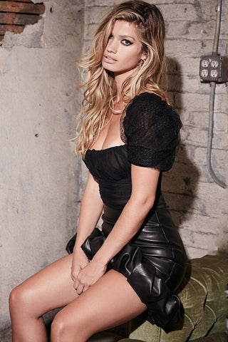 black puff sleeve bodysuit