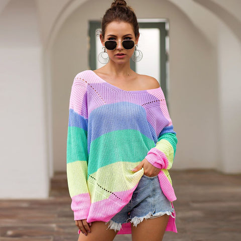 Fashion blog: 9 types of sweaters you need in your closet - woman wearing scoop neck oversize sweater