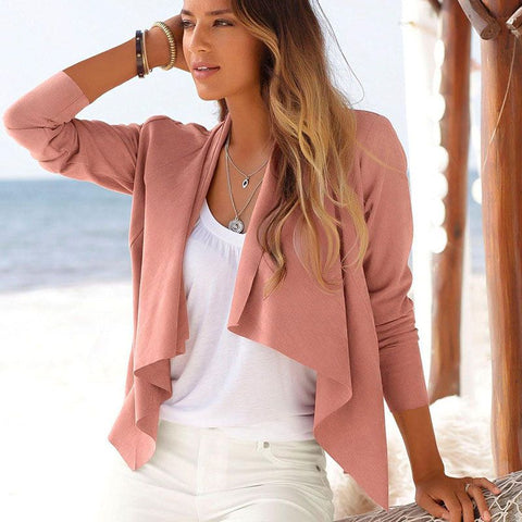 Fashion blog: Cute spring outfits for women -  pink irregular hemline jacket