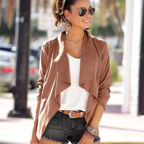 Fashion blog: 8 women's casual spring fashion essentials - woman wearing Long Sleeve Irregular Hemline Jacket