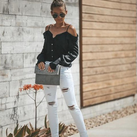 Fashion blog: Cute spring outfits for women - black spaghetti strap blouse