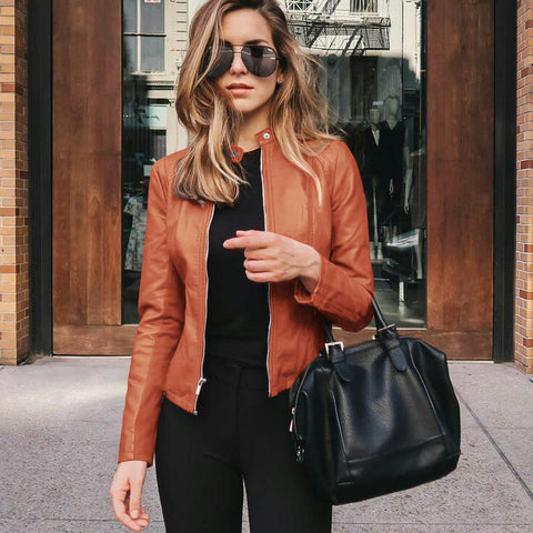 Fashion blog: Cute spring outfits for women - faux leather jacket
