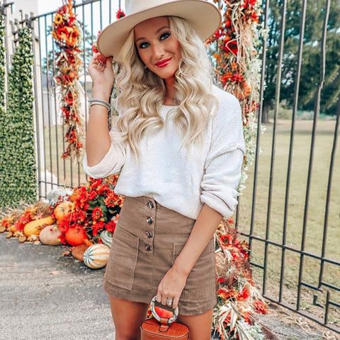 Fashion blog: Cute spring outfits for women -  khaki corduroy skirt