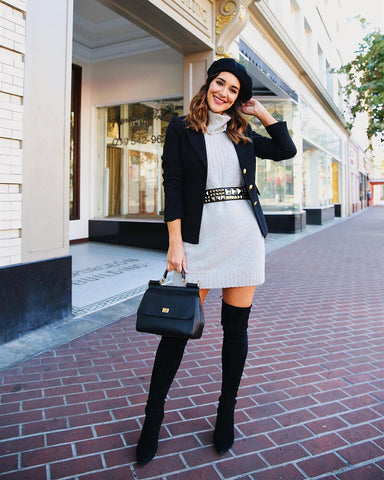 Blazer + Sweater Dress + Over the Knee Boots