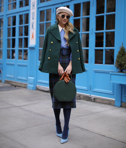 Peacoat + Plaid Skirt + Heels