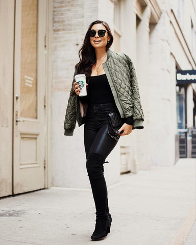 Bomber Jacket + Cami + Leather Pants + Over the Knee Boots