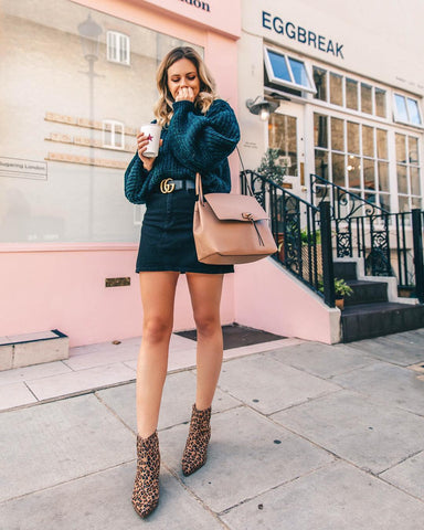 Oversized Sweater + Denim Mini Skirt + Leopard Ankle Boots