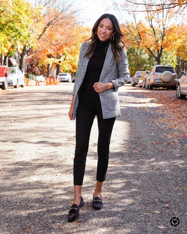 Plaid Blazer + Turtleneck + Capri Pants + Loafers