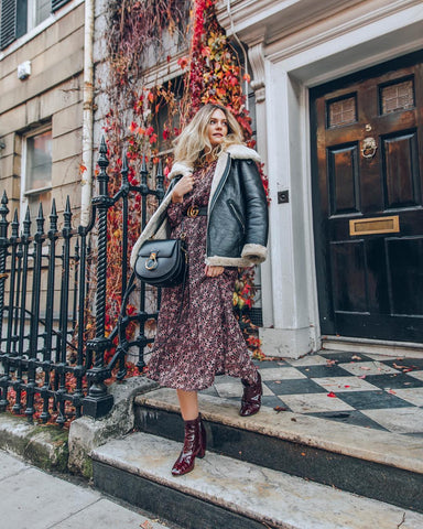 Shearling Jacket + Dark Floral Dress + Skinny Belt + Ankle Boots