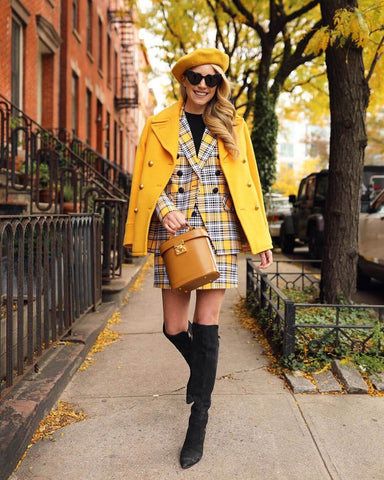 Yellow Plaid + Knee High Boots