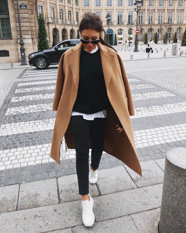Camel Coat + White Tee + Sweater + Skinny Jeans + Sneakers