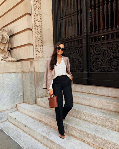 Check Blazer + Silk Button-up + Heels